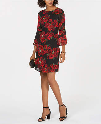 Jessica Howard Bell-Sleeve Floral Shift Dress