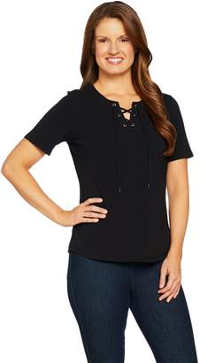 Denim & Co. Short Sleeve Top with Lace-Up Detail