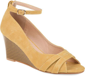 Journee Collection Womens Jc Palmer Pumps Buckle Peep Toe Wedge Heel