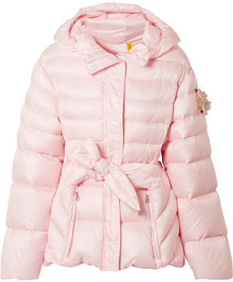 Simone Rocha Moncler Genius + 4 Embellished Belted Shell Down Jacket - Pastel pink