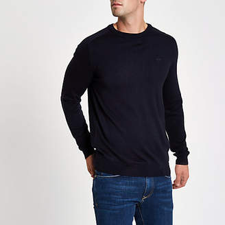 River Island Navy wasp embroidered slim fit sweater