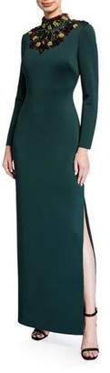 Badgley Mischka Embellished Mock-Neck Long-Sleeve Cutout-Back Scuba Gown