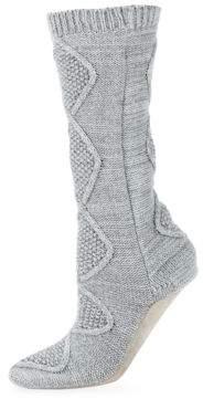Carole Hochman Ribbed-Cuff Slipper Socks