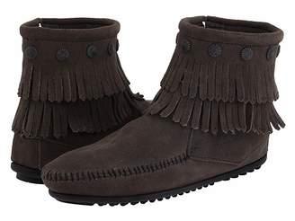 Minnetonka Double Fringe Side Zip Boot