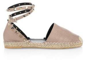 Valentino Rockstud Leather D'Orsay Espadrille Flats