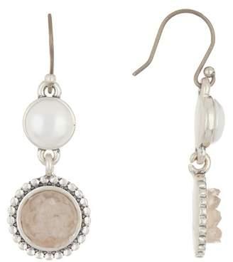 Lucky Brand Druzy & 9mm Pearl Drop Earrings