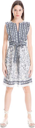 Max Studio ruffled floral print crepon dress