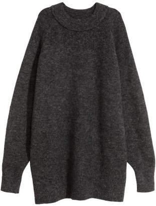 H&M Long Wool-blend Sweater - Gray