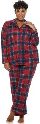 Croft & Barrow Plus Size Notch Collar Shirt & Pants Pajama Set