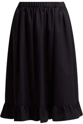 Comme des Garcons Ruffle Hem Wool Midi Skirt - Womens - Navy