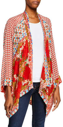 Johnny Was Dolce Mixed-Print Long-Sleeve Kimono
