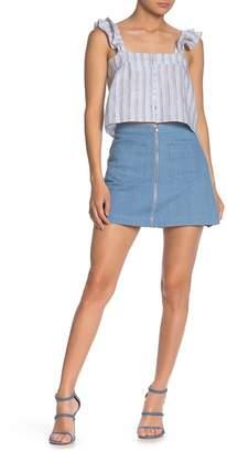 Line & Dot Bonnie Zip Patch Pocket Denim Mini Skirt