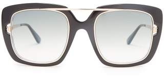 Tom Ford Eyewear - Square Frame Acetate Sunglasses - Womens - Black Gold