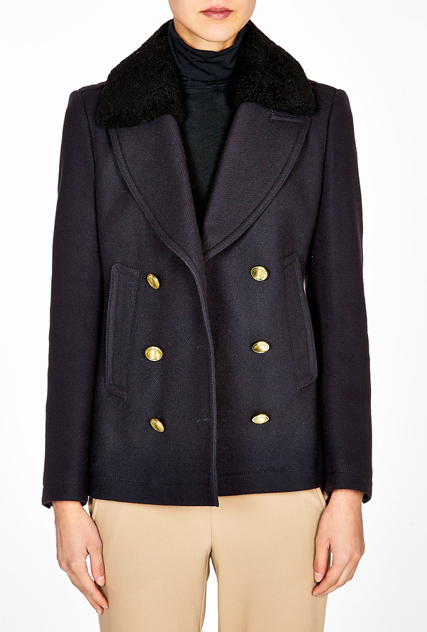 Burberry Shearling Collar Double Breasted Coat