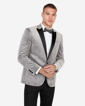 Express Slim Light Gray Velvet Tuxedo Jacket
