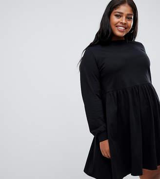 e289adc48b6 Asos DESIGN Curve long sleeve cotton smock dress