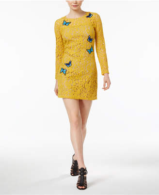 Celestial Blue Long Sleeves Amber Lace Dress with Butterfly Patches