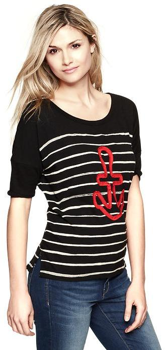 Gap Embroidered anchor striped T