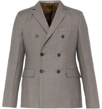 Bottega Veneta Double Breasted Checked Wool Blend Blazer - Mens - Dark Grey