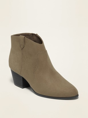 Old Navy Faux-Suede Western Ankle Boots for Women