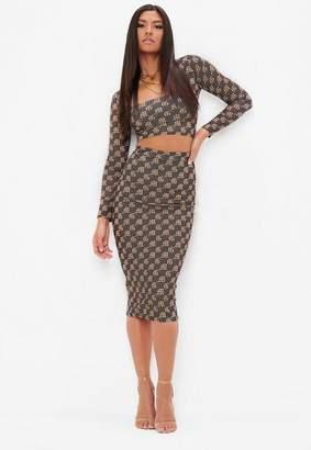 Missguided Khaki Monogram High Wasited Pencil Skirt