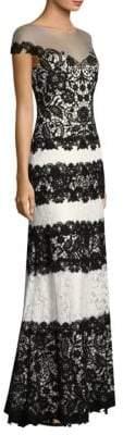 Tadashi Shoji Striped Lace Gown