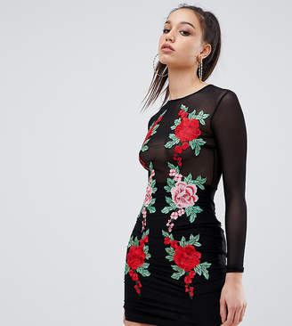 NaaNaa Tall Mesh Bodycon Mini Dress With Floral Applique