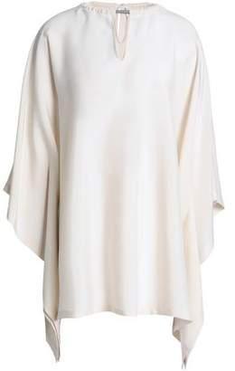 Brunello Cucinelli Asymmetric Bead-Embellished Silk-Blend Top