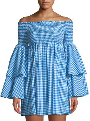 fb522d0fddb ... Caroline Constas Appolonia Gingham Off-the-Shoulder Dress