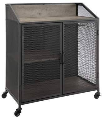 """Saracina Home 33"""" Industrial Bar Cabinet with Mesh"""