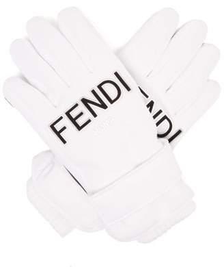 Fendi Logo Patch Padded Ski Gloves - Womens - White