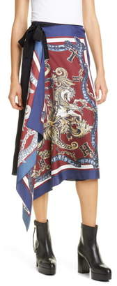 Tommy Hilfiger Silk Foulard Wrap Skirt