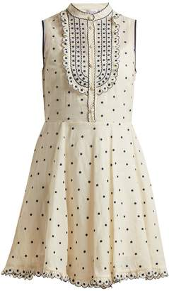RED Valentino Polka-dot scallop-edged cotton dress