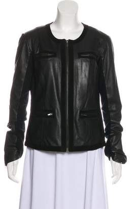 Veda Collarless Leather Jacket