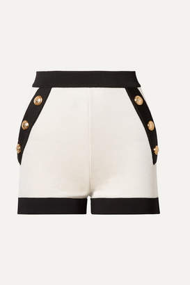 Balmain Button-embellished Two-tone Stretch-knit Shorts - White
