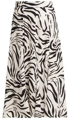 MSGM Zebra Print Crepe Midi Skirt - Womens - Black White