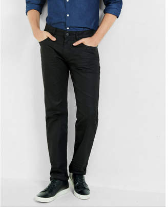Express slim straight black coated stretch jeans