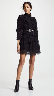 Rebecca Taylor Long Sleeve Silk Embroidered Dress