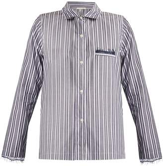 SKIN Lace-trimmed striped-cotton pyjama shirt