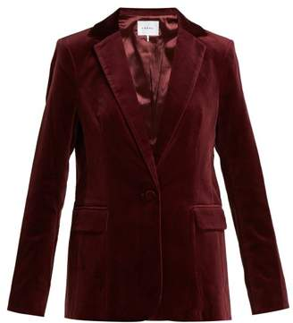 Frame Single Breasted Velvet Blazer - Womens - Burgundy