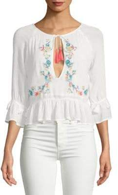 Raga Ashlyn Floral Cut-Out Cotton Blouse