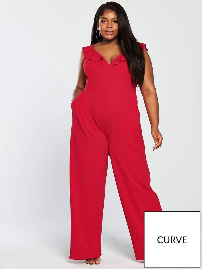 Curve Frill Shoulder Wide Leg Jumpsuit - Red