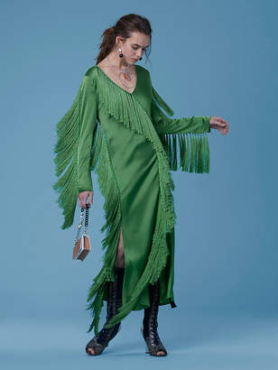 Diane von Furstenberg Side Slit Fringe Dress