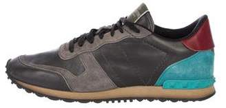 Valentino Rockrunner Suede-Trimmed Sneakers