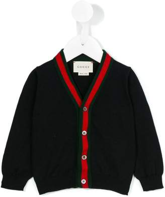 Gucci Kids Web V-neck cardigan