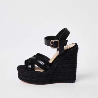 River Island Womens Black cross strap espadrille platform wedges