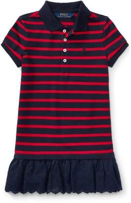 Ralph Lauren Eyelet-Hem Striped Polo Dress