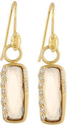 Jude Frances Sonoma Long Cushion Champagne Citrine Earrings with Diamonds