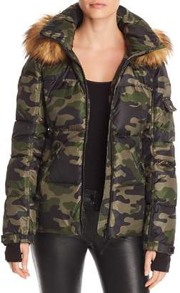 Aqua Faux Fur-Trim Camo Hooded Puffer Jacket - 100% Exclusive