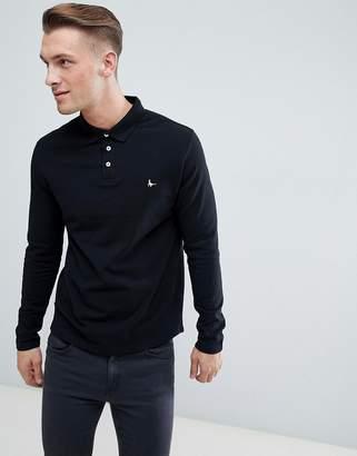 Jack Wills Long Sleeve Staplecross Polo In Black